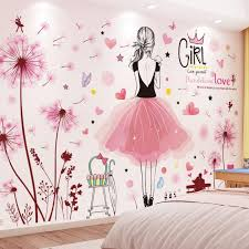 Shijuekongjian Pink Dandelions Flowers Wall Stickers Diy Caroon Girl Wall Decals For Kids Bedroom Baby Room House Decoration Tree Wall Clings Tree Wall Decal From Yarns 26 78 Dhgate Com