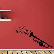 Classy Trumpet With Birds And Musical Notes Wall Decal Trumpet Wall Mural With Birds And Musical Notes A Music Wall Stickers Music Wall Decal Music Wall Decor