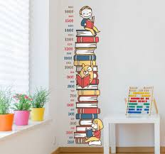 Stack Of Books Height Chart Sticker Tenstickers