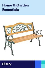 wooden garden bench seat with cast iron