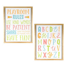 New View Gifts Accessories Playroom Rules Alphabet Wall Art 2 Piece Set