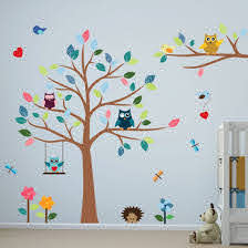 Amazon Com Timber Artbox Cheerful Nursery Wall Decals With Owls Tree Best Decor For Kids Room Nursery Playroom Home Kitchen