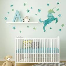 Unicorn Wall Decal Horse Decal Star Decals Eco Friendly Fabric Wall