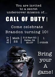 The Invitation Was Created For A Call Of Duty Birthday Party