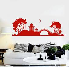 Vinyl Wall Decal Japanese Pagoda Tree Bridge Japan Art Stickers Ig3807 Ebay