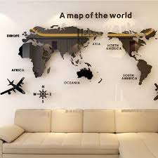 Hot Offer 03a0a1 Solid Acrylic Wall Sticker World Map Decals For Living Room 3d Wall Decals Sofa Backgroud Mural Large Wallpaper For Home Decor Cicig Co
