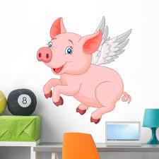 Cute Pig Cartoon Flying Wall Decal By Wallmonkeys Peel And Stick Graphic 36 In H X 32 In W Wm9018 Walmart Com Walmart Com