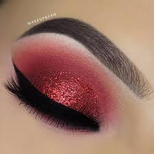 smokey eye makeup with red dress