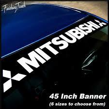 Mitsubishi Window Banner Vinyl Decal Sticker Graphic Eclipse Evo 7 8 9 X Lancer Wish