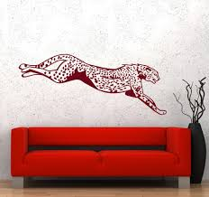 Wall Vinyl Decal Cheetah Leopard Tiger Jumping Hunting Decor Unique Gift Z3667 Vinyl Wall Decals Vinyl Decals Hunting Decor