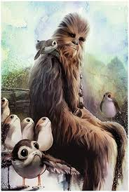 Amazon Com Fathead Star Wars The Last Jedi Chewbacca And Porgs Mural Giant Officially Licensed Removable Graphic Wall Decal Home Kitchen
