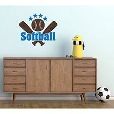 Teen Bedroom Decor Softball With Bats Stars Wall Sticker Decals 23x19 Inch Traffic Blue Chocolate Brown Walmart Com Walmart Com