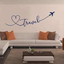 Travel With Skyline Wall Vinyl Decals Travel Word Quote Wall Sticker Airplane With Heart Removable Car Window Murals Af058 Wall Stickers Aliexpress
