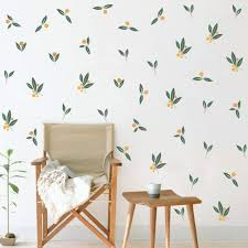 Amazon Com Nordic Tangerines Green Leaves Wall Decal Fruit Plant Fresh Leaves Sticker For Bedroom Office Decoration 32pcs Tangerines Leaf Arts Crafts Sewing