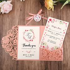 wedding invitations pink laser cut
