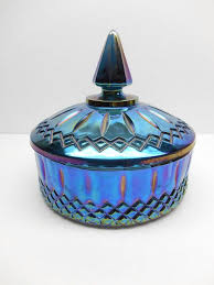 vintage blue carnival glass candy dish