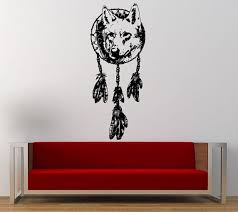 Wolf Head Native American Indian Dreamcatcher Wall Graphic Decal Sticker Vinyl Mural Leaving Bedroom Room Home De Room Decals Wall Graphics Wall Decor Stickers