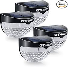 Othway Solar Fence Post Lights Wall Mount Decorative Deck Lighting Black 4 Packs Amazon Com