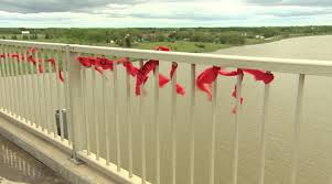 Mmiwg Families Retie Red Ribbons Province Removed From Selkirk Bridge Cbc News