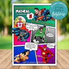 Plantilla De Invitacion De Dc Comics Para Imprimir Con Foto Diy