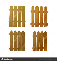 Natural Wooden Fence From Individual Planks Isolated Fence Against White Background In Cardboard Style Vector Illustration Stock Vector C Zsmart 190021888