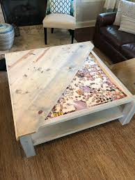 built a puzzle table coffee table