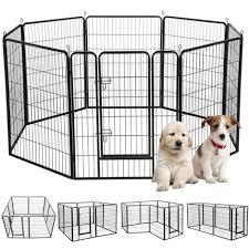 8 Panel Pet Playpen Dog Exercise Pen Cat Rabbit Fence Indoor Outdoor 100cm High 610584 Black