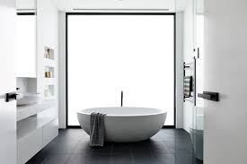 modern white bathroom freestanding