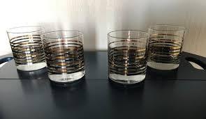 gold striped bar beverage glasses