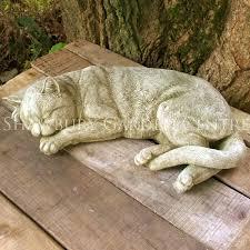 sleeping cat stone garden ornament