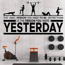 Inspirational Gym Wall Decals Workout Fitness Crossfit Exercise Room Art Decor Vinyl Stickers Signs Poster Decorations Wl1102 Wall Stickers Aliexpress