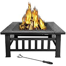 32 inch outdoor square metal firepit