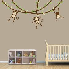 Hanging Monkey Wall Decal Monkey Vines Monkey Decal Nursery Etsy