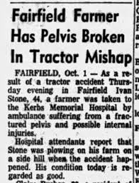 Ivan Stone hospitalized at Kerbs as a result of a tractor accident that  occurred Sept. 29 1954 - Newspapers.com