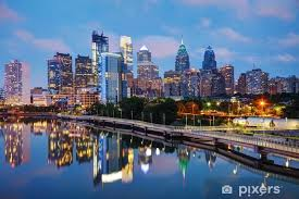 Philadelphia Skyline At Night Wall Mural Pixers We Live To Change