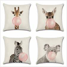 Animals Blow A Balloon Painting Zebra Giraffe Cartoon Cushion Cover Home Sofa Chair Car Seat Kids Room Gift Friend Pillowcase Cushion Cover Aliexpress