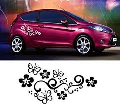 Amazon Com Livdat 1 Pair Flower Vine Butterfly Car Decal Sticker For Laptop Tablet Window Wall Racing Sports Auto Car Truck Motorcycle Black Clothing