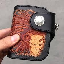 skull indian chief biker wallet mens