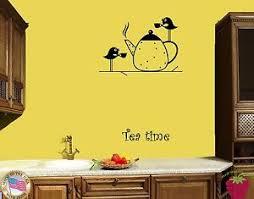 Wall Stickers Vinyl Decal Tea Time Birds Drinking Tea For Kitchen Z1792 682017255255 Ebay
