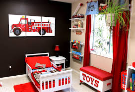 Fire Truck Room I Know A Little Boy Who Needs This At Grandpa S And Gmaw S Truck Themed Bedroom Fire Truck Bedroom Toddler Rooms