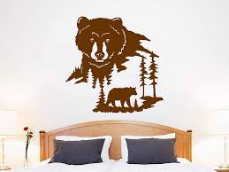 Amazon Com Bear Animal Wall Sticker Bear Wall Decal Woodland Living Room Bedroom Decoration Bear Nature Wall Art Woodland Nursery Decor C720 Handmade