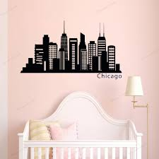 Office Wall Decal Chicago Skyline Wall Decals Murals Chicago City Silhouette Vinyl Stickers Removable Poster Wu302 Wall Stickers Aliexpress