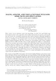 Ralph, Adeline, and Ursula Vaughan Williams: Some Facts and Speculation  (With a Note about Tippett)