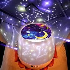 Kistra Star Projector Night Light For Kids Bedroom 6 Films 360a Rotating Led Starry Sky Nightlight Table Lamp Brightness