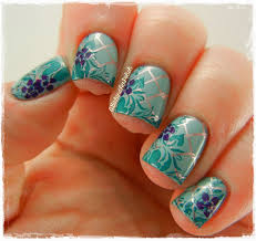 The Digit Al Dozen Does Metal Chain Link Fence Stamping Nail Art Turquoise Nails Floral Nails