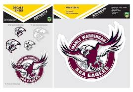 Set Of 2 Manly Sea Eagles Nrl Logo Mega Spot Sticker Pack Of 5 Decal Stickers Sheet Itag Guy Stuff