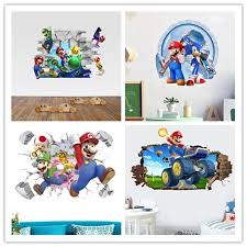 Mega Deal 7235 Cartoon Mario Bros Wall Sticker For Kids Rooms Decals Nursery Home Decor Vinyl Mural For Boy Bedroom Living Room Mural Art Cicig Co