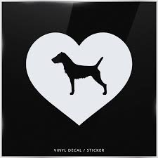 German Jagdterrier Silhouette Heart Car Window Decal Vinyl Sticker Wall Dog Wish