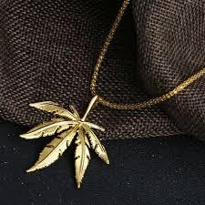 big leaf weed pendant necklace gold