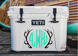 Amazon Com Hunting Deer Antlers Monogram Decal Sticker For Laptop Car Yeti Cooler Home Decor Tumbler Or Cup Handmade